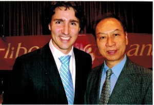(left) Mr Justin Trudeau-Leader of The Liberal Party of Canada, (right) Dr Joseph Hui-president of CFCC